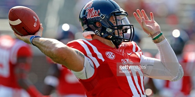 OXFORD MS -SEPTEMBER 5:  Quarterback Chad Kelly #10 of the Mississippi Rebels warms up before a NCAA college football game against the Tennessee Martin Skyhawks at Vaught-Hemingway Stadium on September 5, 2015 in Oxford, Mississippi. (Photo by Butch Dill/Getty Images) *** Local Caption *** Chad Kelly