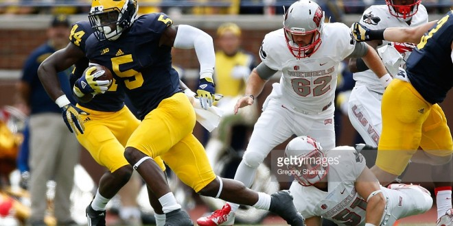 ANN ARBOR, MI - SEPTEMBER 19:   on September 19, 2015 at Michigan Stadium in Ann Arbor, Michigan.  (Photo by Gregory Shamus/Getty Images) *** Local Caption ***