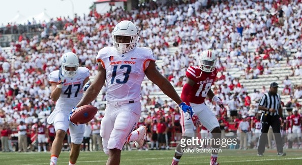 Boise State running back Jeremy McNichols (13) scores a touchdown against Louisiana-Lafayette on Saturday, Sept. 3, 2016, at Cajun Field in Lafayette, La. Boise State won, 45-10. (Darin Oswald/Idaho Statesman/TNS)