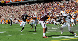 October 8, 2016: Texas A&M Aggies wide receiver Christian Kirk (3) stiff arms his way to the end zone for a first half touchdown during the Tennessee Volunteers  vs Texas A&M Aggies game at Kyle Field, College Station, Texas. (Photo by Ken Murray/Icon Sportswire)