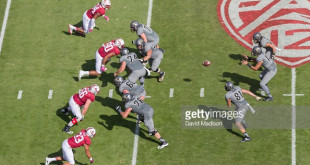 PALO ALTO, CA - OCTOBER 22:  The University of Colorado Buffaloes offense runs a play during an NCAA Pac-12 football game against the Stanford Cardinal played on October 22, 2016 at Stanford Stadium in Palo Alto, California.  Visible players include Peter Kalambayi #4, Solomon Thomas #90, Harrison Phillips #66, and Mike Tyler #33 of Stanford; and Jeromy Irwin #76, Gerrad Kough #68, Alex Kelley #74, Tim Lynott Jr. #56, Sam Kronshage #71, Sean Irwin #81, Sefo Liufau #13, and Phillip Lindsay #23 of Colorado.  (Photo by David Madison/Getty Images)