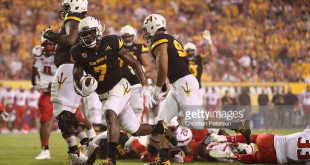 during the second half of the college football game at Sun Devil Stadium on September 10, 2015 in Tempe, Arizona.