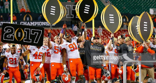 TAMPA, FL - JANUARY 09: The Clemson Tigers celebrate their victory at the conclusion of the National Championship game between the Alabama Crimson Tide and Clemson Tigers on January 9, 2017, at Raymond James Stadium in Tampa, FL. Clemson beat Alabama 35-31. (Photo by Todd Kirkland/Icon Sportswire)