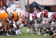 KNOXVILLE, TN - OCTOBER 20: Tennessee Volunteers and Alabama Crimson Tide on the line of scrimmage during the first half of the game between the Alabama Crimson Tide and the Tennessee Volunteers at Neyland Stadium on October 20, 2018 in Knoxville, Tennessee. Alabama won 58-21. (Photo by Donald Page/Getty Images)