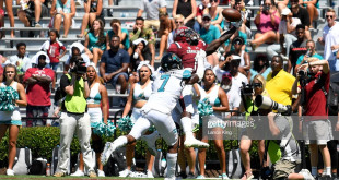 COLUMBIA, SC - SEPTEMBER 01: Deebo Samuel #1 of the South Carolina Gamecocks catches the ball for a eight-yard touchdown against Mallory Claybourne #7 of the Coastal Carolina Chanticleers at Williams-Brice Stadium on September 1, 2018 in Columbia, South Carolina. SC won 49-15. (Photo by Lance King/Getty Images)