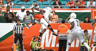 MIAMI GARDENS, FL - SEPTEMBER 22:  FIU cornerback Isaiah Brown (4) prevents Miami wide receiver Evidence Njoku (83) from pulling in a possible touchdown pass in the fourth quarter as the University of Miami Hurricanes defeated the FIU Golden Panthers, 31-17, on September 22, 2018, at Hard Rock Stadium in Miami Gardens, Florida. (Photo by Samuel Lewis/Icon Sportswire via Getty Images)
